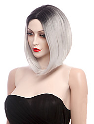 cheap -Synthetic Wig Straight Straight Wig Short Black / White Synthetic Hair Women's Ombre Hair White