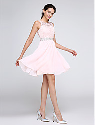 cheap -A-Line Illusion Neck Short / Mini Chiffon / Corded Lace Hot / Pink Graduation / Cocktail Party Dress with Crystals 2020
