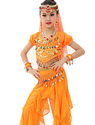 cheap -Belly Dance Outfits Performance Polyester / Chiffon Satin Gold Coin / Ruched Short Sleeves Natural Top / Pants / Belt
