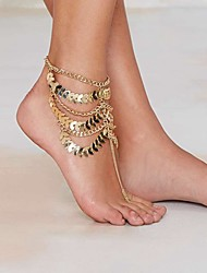 cheap -Anklet Barefoot Sandals Statement Ladies Unique Design Women's Body Jewelry For Party Daily Layered Tassel Fringe Stacking Stackable Gold Plated Yellow Gold Alloy Golden 1pc