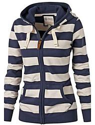 cheap -Women's Zip Up Hoodie Sweatshirt Striped Zip Up Casual Daily Basic Hoodies Sweatshirts  Black And White Blue White Navy Blue