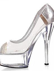 cheap -Women's Heels Stiletto Heel Sparkling Glitter Glitter / PVC Club Shoes / Lucite Heel Spring / Summer Golden / Silver / Wedding / Party & Evening / Party & Evening / EU40