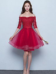 cheap -A-Line Off Shoulder Short / Mini Tulle Bridesmaid Dress with Sash / Ribbon