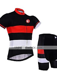 cheap -KEIYUEM Men's Women's Short Sleeve Cycling Jersey with Shorts Bike Clothing Suit Breathable Quick Dry Back Pocket Sweat-wicking Sports Coolmax® Mesh Silicon Classic Clothing Apparel / Stretchy
