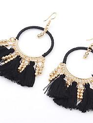 cheap -Women's Girls' Earrings fan earrings Tassel Beads Ladies Tassel Vintage Bohemian European Fashion Gold Plated Earrings Jewelry Red / Blue / Rainbow For Party / Pearl