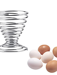 cheap -Stainless Steel Spring Egg Holder Wire Tray Boiled Cup Stand Storage Eggs Tools 1pcs