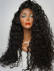 cheap -Synthetic Lace Front Wig Curly Side Part 180% Density Synthetic Hair Youth / Party / Natural Hairline Black Wig Women's Long Lace Front