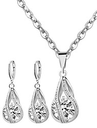 cheap -Women's Diamond Cubic Zirconia Moissanite Pendant Necklace Necklace / Earrings Solitaire Round Cut Ladies Fashion Bridal Sterling Silver Zircon Earrings Jewelry White For Wedding Party Daily Casual