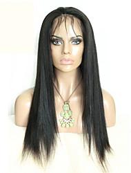 Недорогие -Парики из натуральных волос на кружевной основе Натуральные волосы Полностью ленточные плотность Прямой силуэт Парик Черный Короткий
