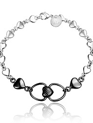 cheap -Women's Chain Bracelet Heart Love Vintage Heart Fashion Sterling Silver Bracelet Jewelry Silver / Black For Wedding Party Daily Casual