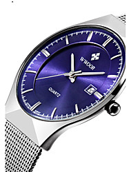 cheap -WWOOR Men's Couple's Wrist Watch Quartz Stainless Steel Silver 30 m Water Resistant / Waterproof Calendar / date / day Analog Luxury Classic Casual Fashion Dress Watch - White Black Dark Blue Two