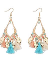 cheap -Women's Girls' Drop Earrings fan earrings Hanging Earrings Pom Pom Leaf Statement Ladies Tassel Vintage Bohemian Fashion Resin Gold Plated Earrings Jewelry Red / Blue / Rainbow For Party Daily Casual