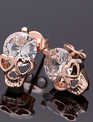 cheap -Women's Stud Earrings Round Cut Skull Ladies Punk European Rose Gold Plated Earrings Jewelry Gold For Halloween Daily Casual