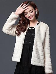 abordables -Femme Quotidien / Sortie Basique Hiver Grandes Tailles Court Manteau en Fourrure, Couleur Pleine Col Arrondi Manches Longues Blanche