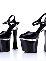 cheap -Women's Heels Chunky Heel / Platform Sparkling Glitter / Buckle / Hollow-out Patent Leather / Glitter Light Up Shoes / Club Shoes Spring / Summer / Fall Black / White / Silver / Wedding / EU41