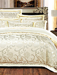 cheap -Duvet Cover Sets 4 Piece Silk Luxury Beige Embroidery Luxury / 500 / 4pcs (1 Duvet Cover, 1 Flat Sheet, 2 Shams)