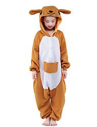cheap -Kid's Kigurumi Pajamas Kangaroo Animal Onesie Pajamas Velvet Mink Orange Cosplay For Boys and Girls Animal Sleepwear Cartoon Festival / Holiday Costumes