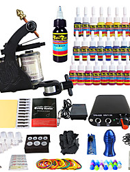 cheap -Tattoo Machine Starter Kit - 1 pcs Tattoo Machines with 28 x 5 ml tattoo inks, Professional Mini power supply Case Not Included 1 alloy machine liner & shader