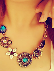 cheap -Women's  Colorful Crystal Ethnic Pendant Necklace Flower Dainty Ladies Vintage Crystal Imitation Diamond Alloy Bronze Necklace Jewelry For Party Daily Casual