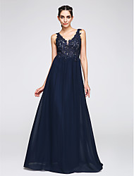cheap -A-Line V Neck Floor Length Chiffon Open Back Prom / Formal Evening Dress 2020 with Appliques