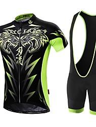 cheap -Malciklo Men's Short Sleeve Cycling Jersey with Bib Shorts White Black Bike Clothing Suit Breathable 3D Pad Quick Dry Back Pocket Sports Coolmax® Lycra Tiger Mountain Bike MTB Road Bike Cycling