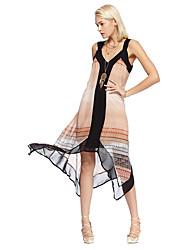 cheap -Women's Asymmetrical Asymmetrical Yellow Dress Summer Going out Loose Strap Split Print S M