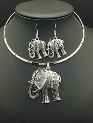 cheap -Women's Necklace / Earrings Elephant Animal Luxury Vintage Imitation Diamond Earrings Jewelry Silver For Daily Casual