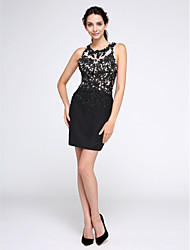 cheap -Sheath / Column Little Black Dress Homecoming Cocktail Party Prom Dress Jewel Neck Sleeveless Short / Mini Chiffon Tulle with Sequin Appliques 2020