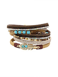 cheap -Women's Crystal Wrap Bracelet Leather Bracelet Tassel Vintage Bohemian Double-layer Fashion Crystal Bracelet Jewelry Blue / Light Brown / Black / Gray For Party Daily Casual Sports / Rhinestone