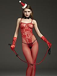 cheap -Women's Mesh Plus Size Gartered Lingerie / Ultra Sexy / Teddy Nightwear Solid Colored Red XL XXL XXXL