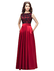 cheap -A-Line Elegant Red Prom Formal Evening Dress Boat Neck Sleeveless Floor Length Charmeuse with Pleats Lace Insert 2020