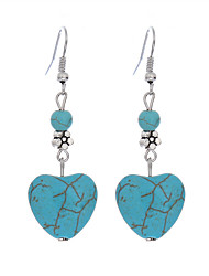 cheap -Women's Turquoise Drop Earrings Two Stone Heart Love Ladies Vintage Bohemian European Fashion Boho Silver Plated Turquoise Earrings Jewelry Blue For Daily Casual 1pc