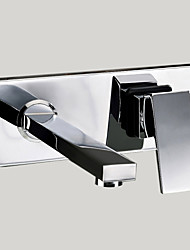 cheap -Bathroom Sink Faucet - Rotatable Chrome Wall Mounted Two Holes / Single Handle Two HolesBath Taps