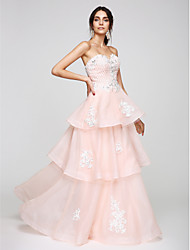 cheap -A-Line Sweetheart Neckline Floor Length Organza Elegant / Pastel Colors Cocktail Party / Prom / Formal Evening Dress with Beading / Appliques 2020