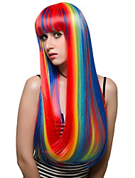 cheap -Synthetic Wig Straight Straight With Bangs Wig Very Long Red Synthetic Hair Women's Highlighted / Balayage Hair Red