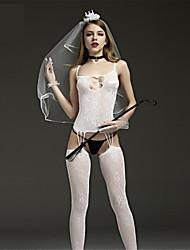 cheap -Women's Lace up Gartered Lingerie / Ultra Sexy / Teddy Nightwear Jacquard White XL XXL XXXL