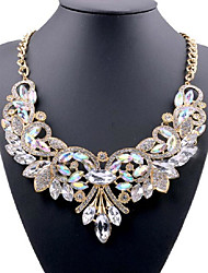 cheap -Women's Crystal Statement Necklace Y Necklace Flower Statement Ladies Vintage Fashion Crystal Rhinestone Alloy White Purple Red Blue Necklace Jewelry For Wedding Party Party / Evening Daily Casual