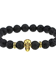 cheap -Men's Women's Couple's Onyx Agate Charm Bracelet Bead Bracelet Skull Chakra Ladies Personalized Vintage Bohemian Punk Agate Bracelet Jewelry Gold / Silver For Party Daily Casual Sports