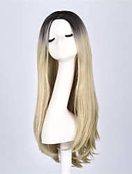 cheap -Black Mixed Blonde Color Synthetic Wigs Ladies Women Party Straight Hair Daily Wearing