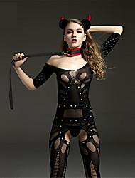 cheap -Women's Mesh Plus Size Gartered Lingerie / Ultra Sexy / Teddy Nightwear Solid Colored Black XL XXL XXXL