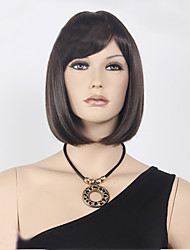 cheap -Synthetic Wig Straight Straight Bob With Bangs Wig Short Dark Brown Synthetic Hair Women's Brown