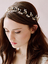 cheap -White Pearl Lace Up Headbands for Lady Wedding Party