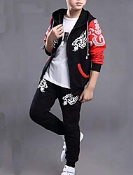 cheap -Boys' Daily Patchwork Cotton Clothing Set Black