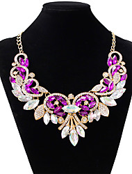 cheap -Women's Amethyst Choker Necklace Drop Ladies Fashion Color Imitation Diamond Alloy White Purple Red Necklace Jewelry For Wedding Party
