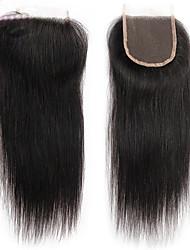 Недорогие -Перуанские волосы 100% ручная работа Прямой Бесплатный Часть / Средняя часть / 3 Часть Швейцарское кружево Натуральные волосы