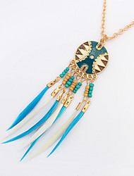 cheap -Women's Pendant Necklace Beaded Tassel Ladies Tassel Vintage Bohemian Resin Feather Alloy Coffee Blue Rainbow Necklace Jewelry For Party Daily Casual Work
