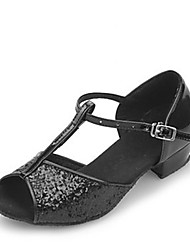 cheap -Women's Latin Shoes Sandal Low Heel Sparkling Glitter Black / Silver / Gold / Kid's / Ballroom Shoes / EU36