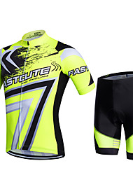 cheap -Fastcute Men's Short Sleeve Cycling Jersey with Shorts Red Green Blue Geometic Plus Size Bike Shorts Pants / Trousers Jersey Breathable 3D Pad Quick Dry Sweat-wicking Sports Polyester Lycra Geometic