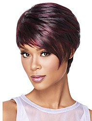 cheap -Synthetic Wig Straight kinky Straight kinky straight Straight Asymmetrical Wig Burgundy Long Burgundy Synthetic Hair Women's Natural Hairline Burgundy