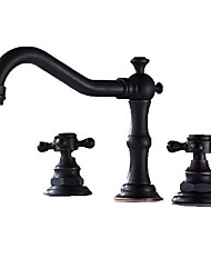 cheap -Bathroom Sink Faucet - Widespread Oil-rubbed Bronze Widespread Three Holes / Two Handles Three HolesBath Taps